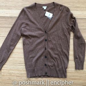 J Crew V-neck cardigan sweater brown NWT